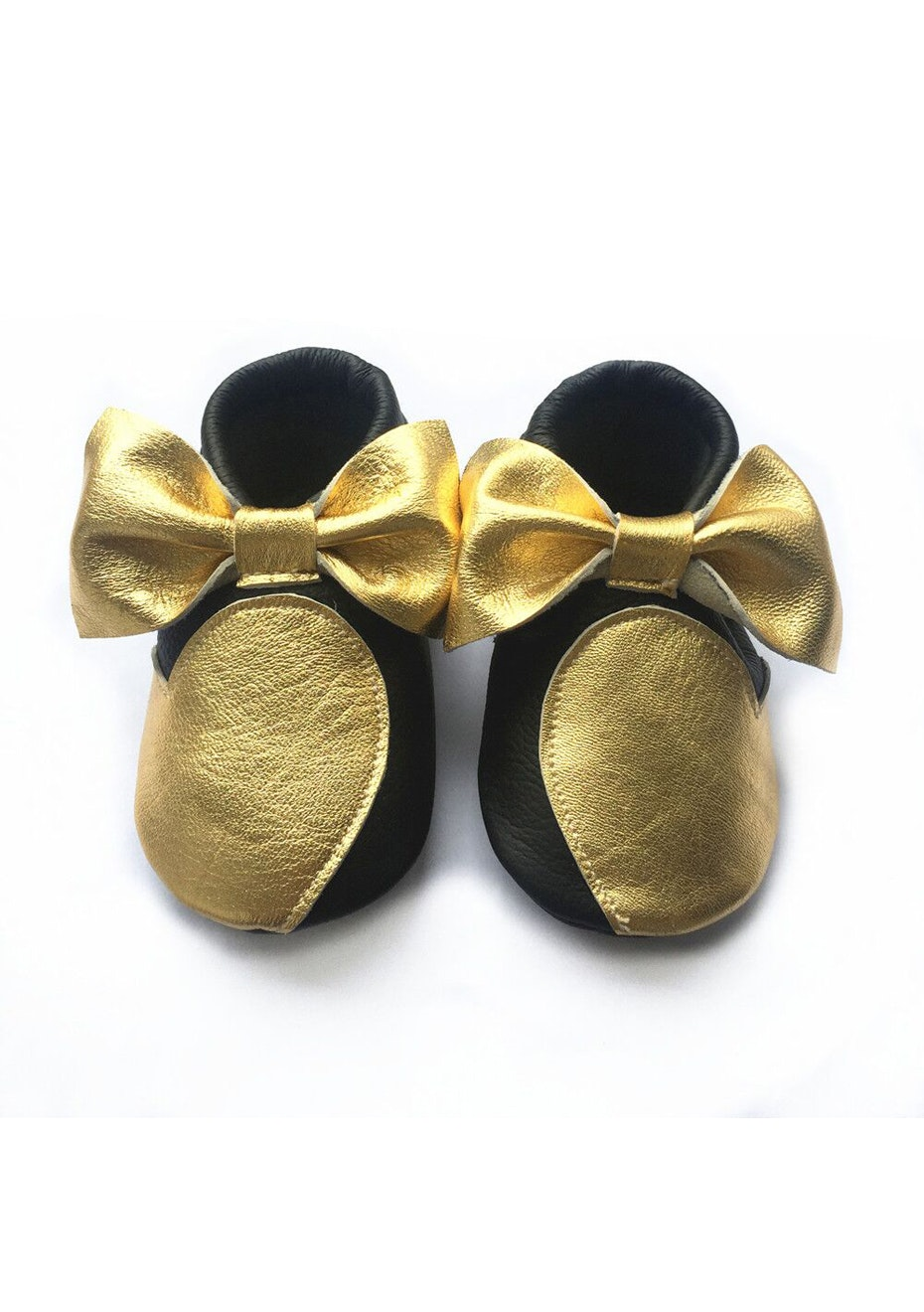 Baby  Leather Shoes - Black / Gold