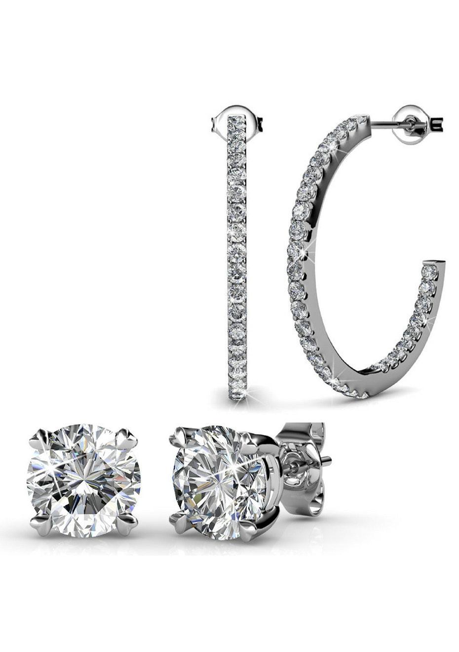 2 Pair Set Hoop & Stud Earrings Ft Swarovski Crystals