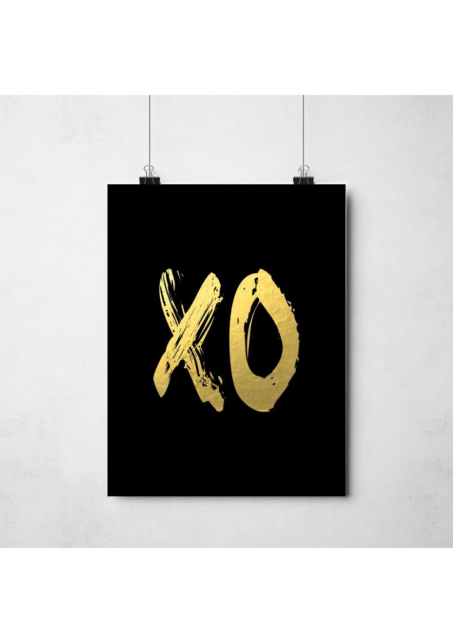 Simply Creative - Xo Black - A3 Gold Foil Print