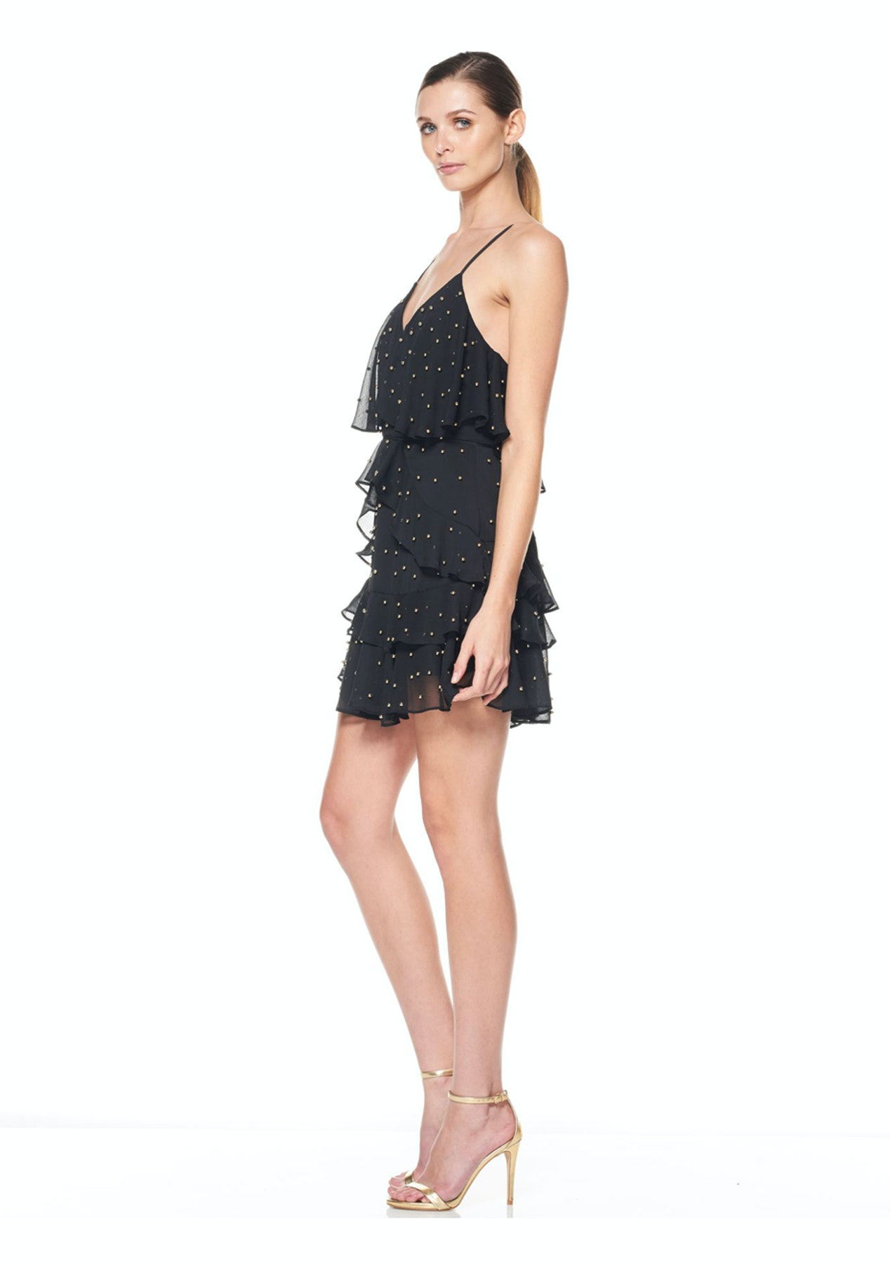 La Maison Talulah - Queen Of The Night Mini Dress - Black With Gold Ball  Sequin - New Stevie May ad536d8fa