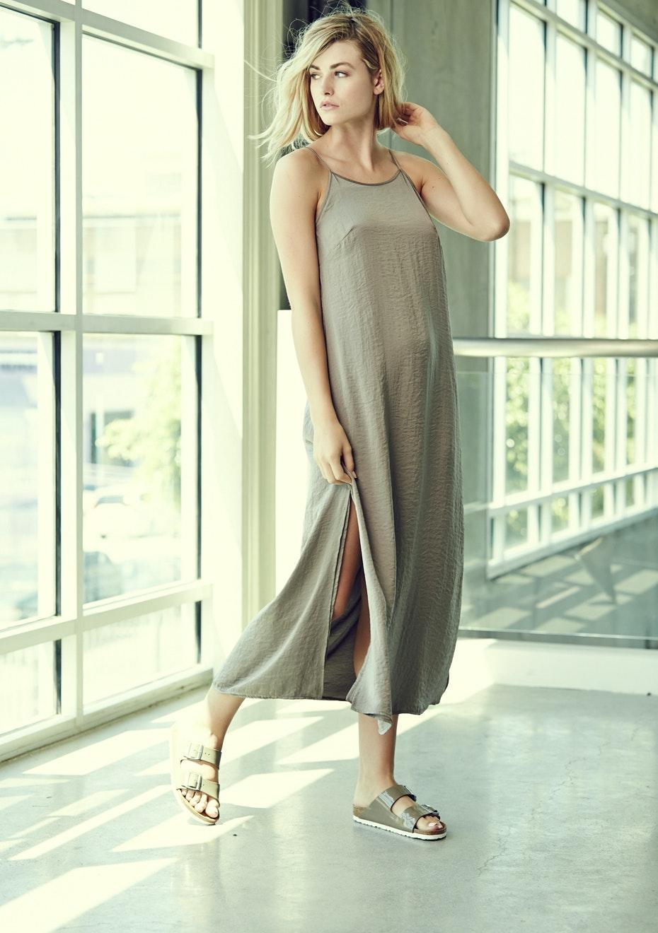Achro - Ankle Length, Sleeveless Slip Dress  - Olive