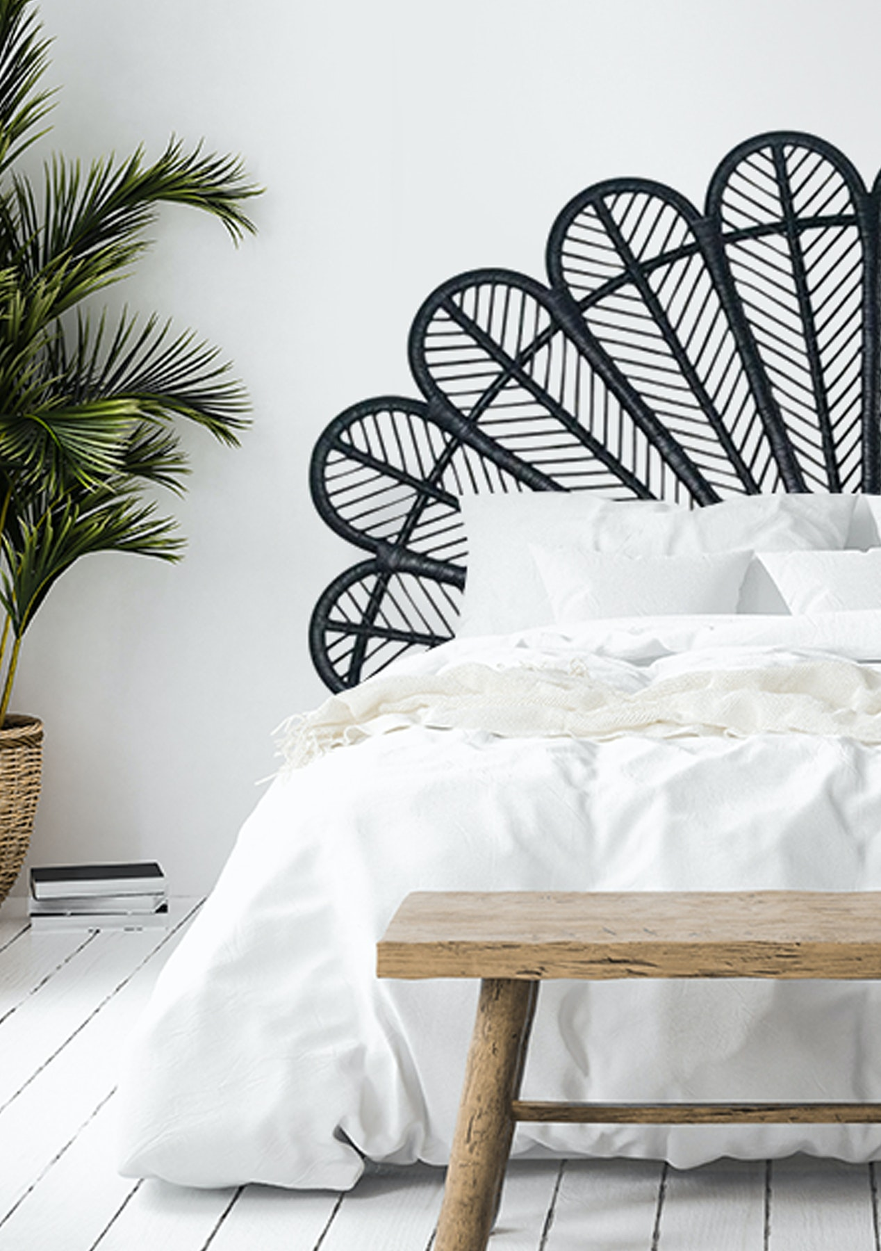 George St Super King Size Peacock Headboard Black Rattan Furniture More Onceit
