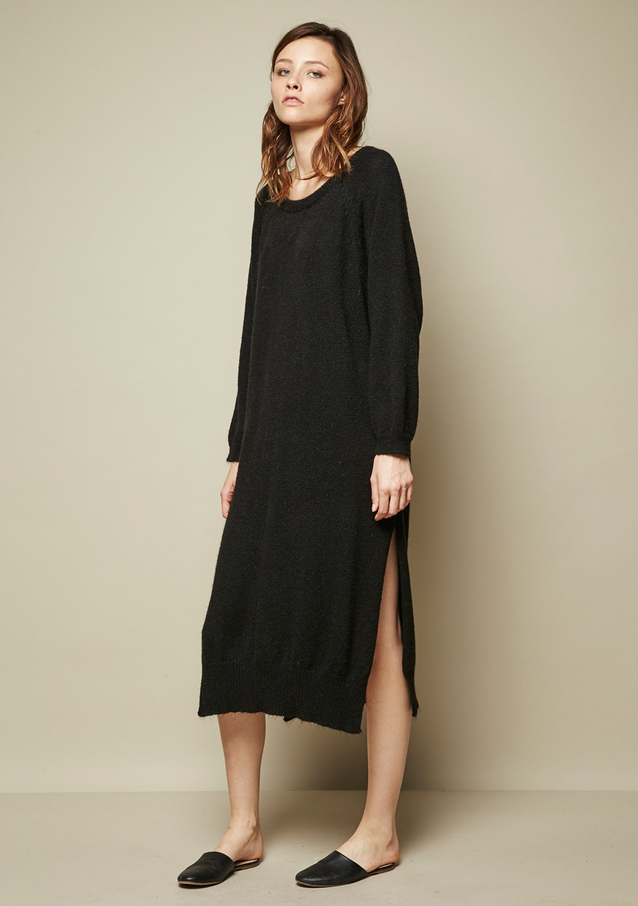 Achro - Side Slit Sweater Dress - Black