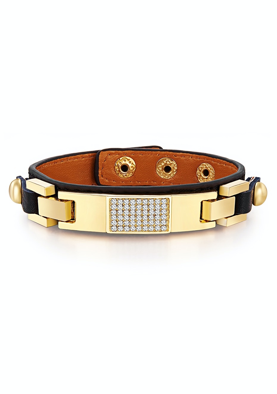 Genuine Cow Leather Bracelet With 18k Gold Buckle