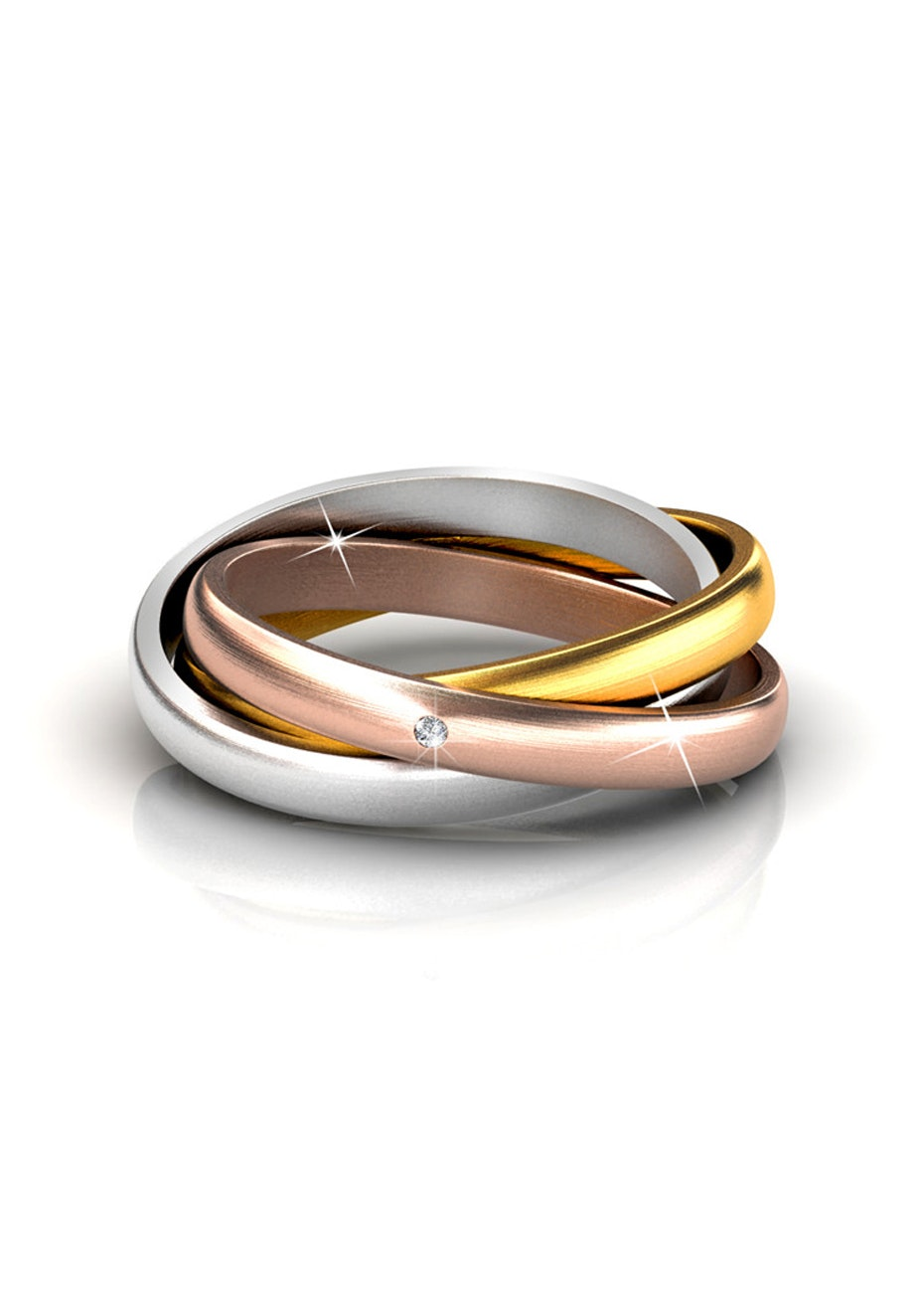 Tri Tone Interlinked Ring Ft Swarovski Crystals