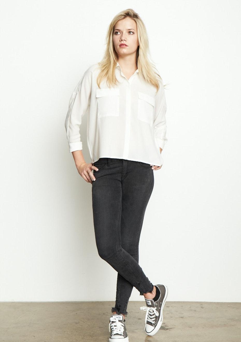 Achro - Long Sleeve, Boxy Shirt - White