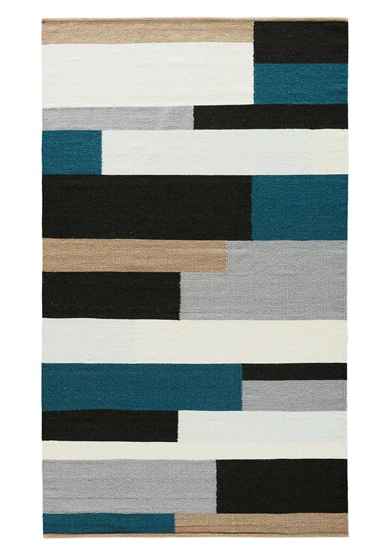 Wool Cotton Rug Teal Black Multi 160 X 230cm Free Shipping