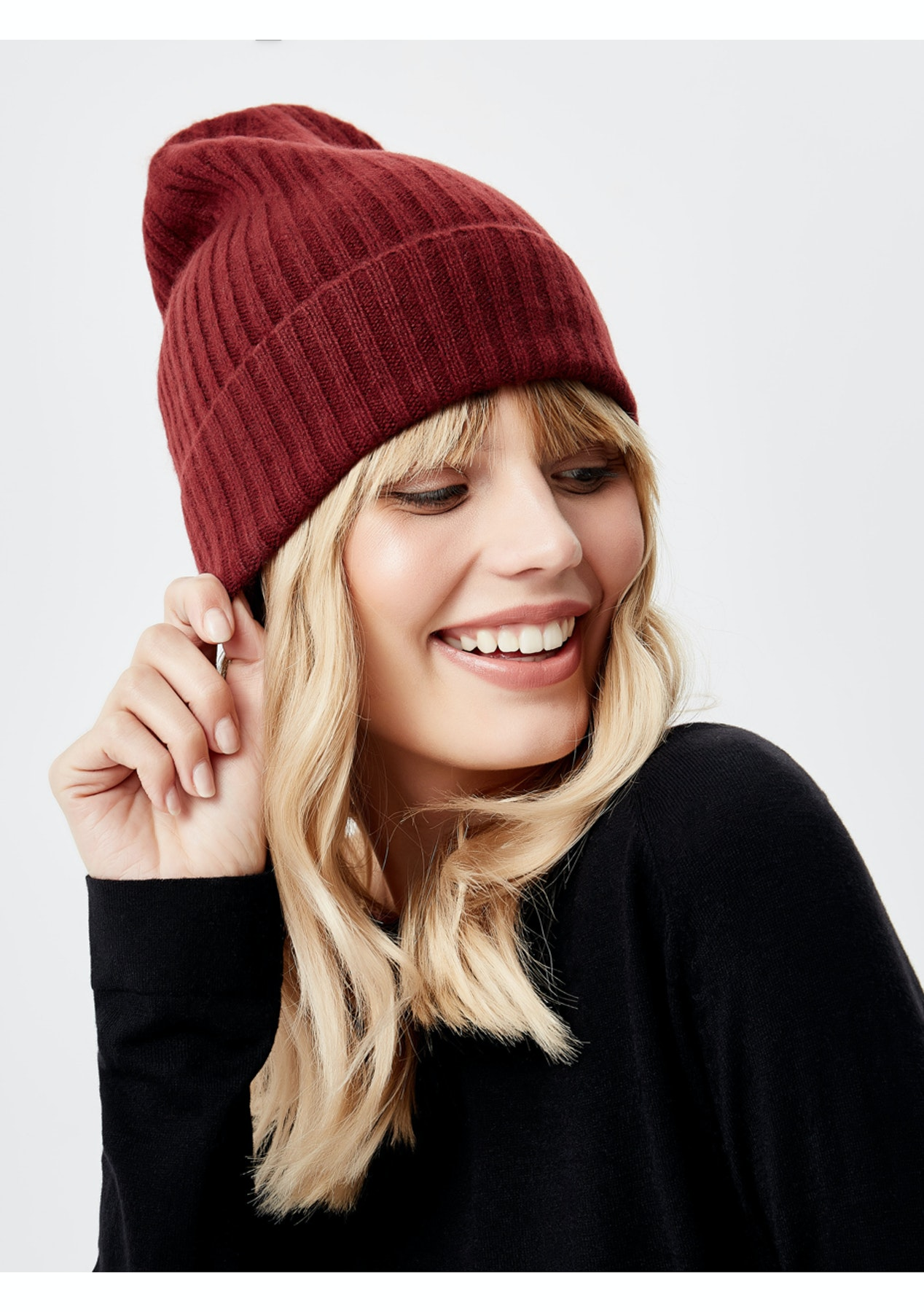 434df375d9088 Manode - 100% Cashmere Beanie - Wine - BACK BY DEMAND  Cashmere   Merino  Blends - Onceit