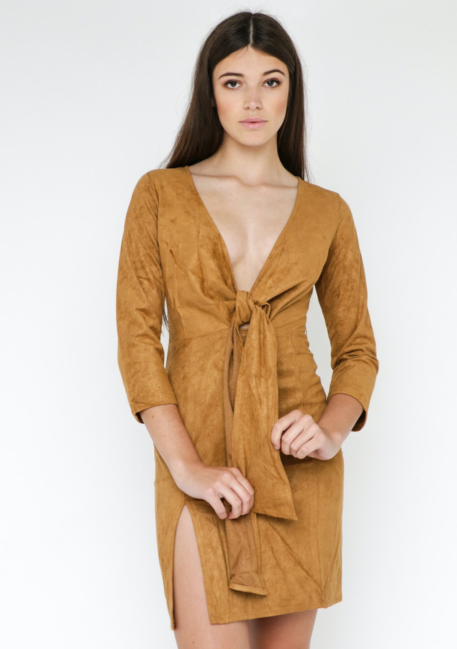 Lioness Messina Suede Dress - Coffee