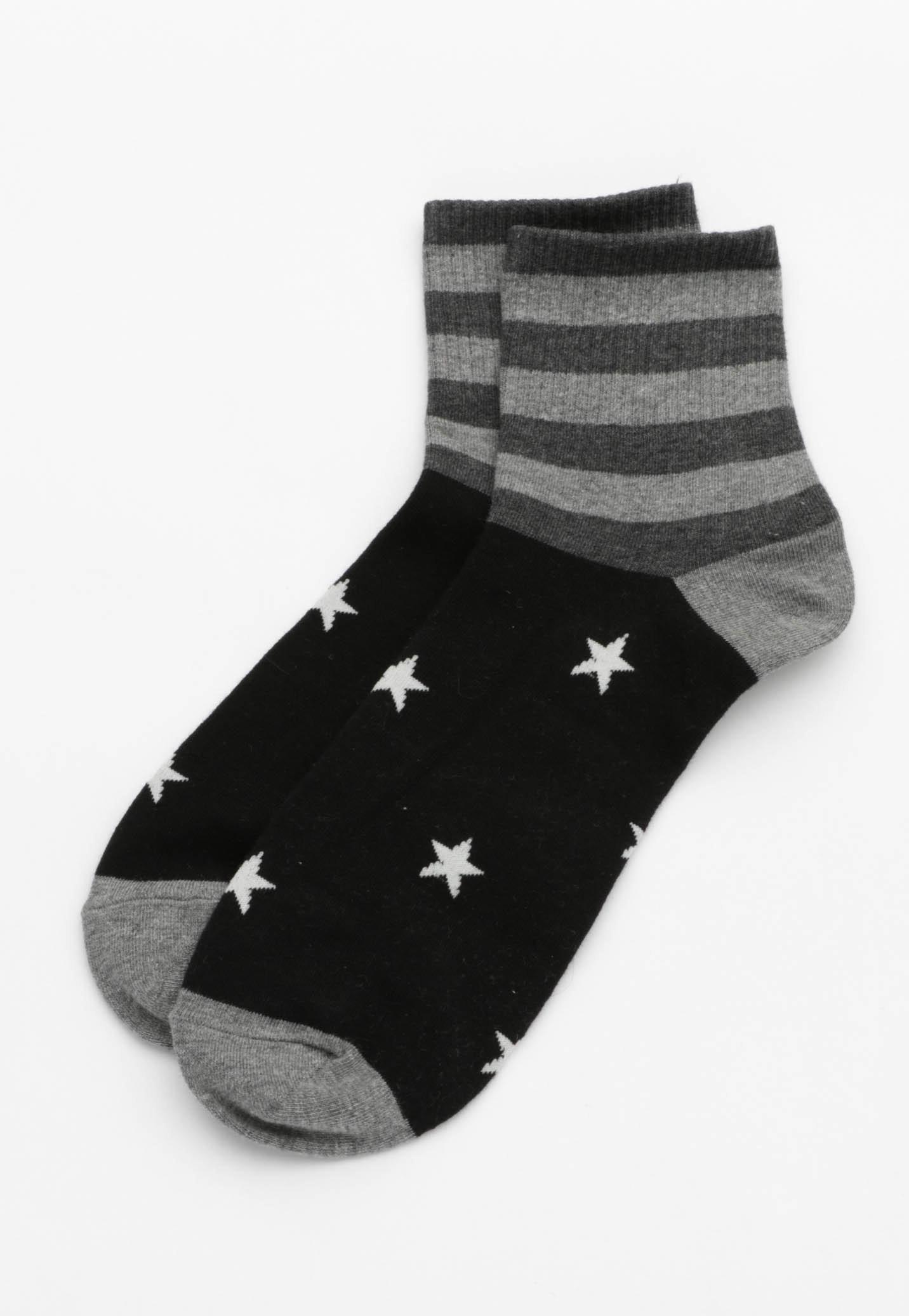 Stars and Stripes Socks - Black/grey