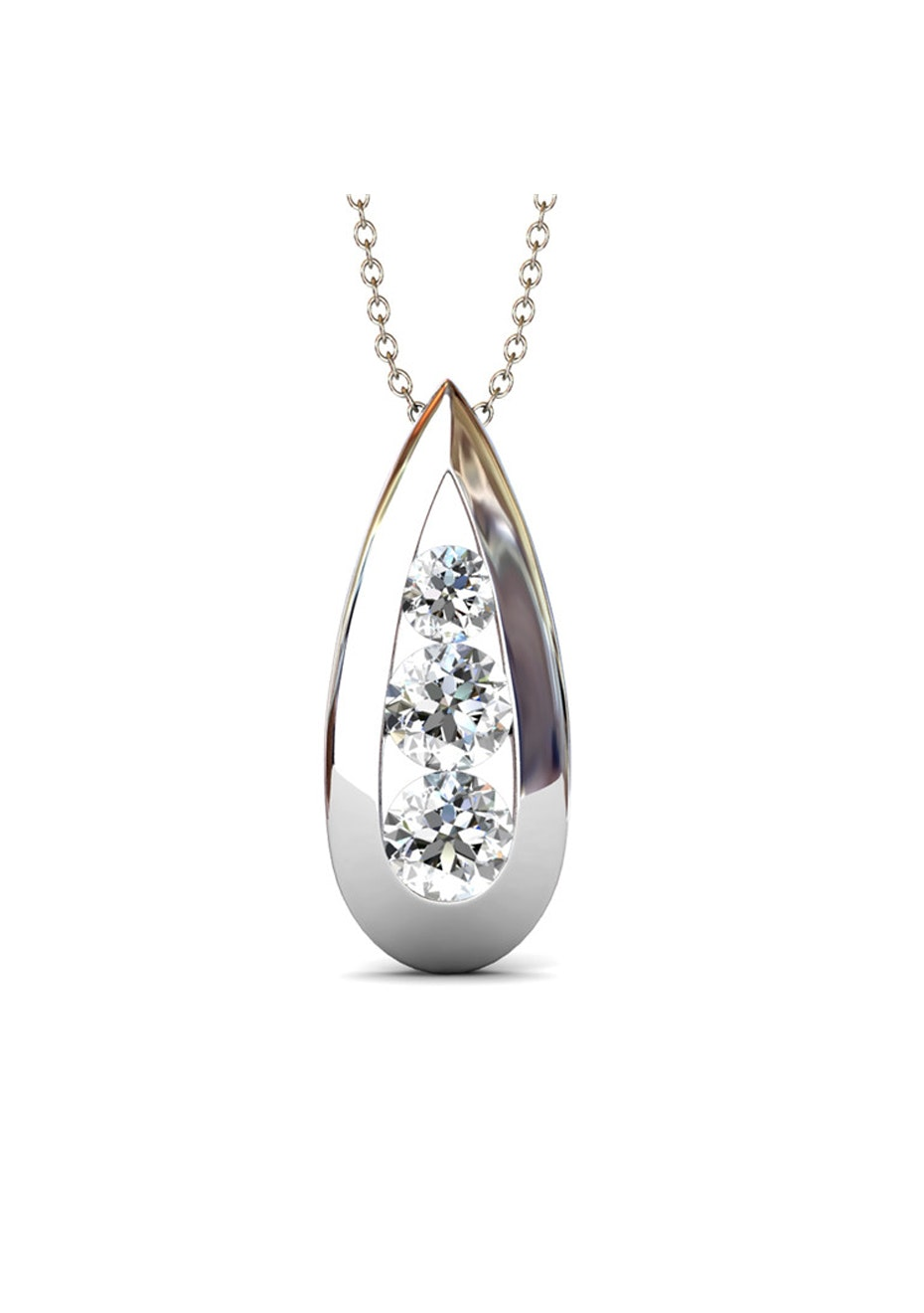 Teardrop Pendant Necklace Embellished with Crystals from Swarovski