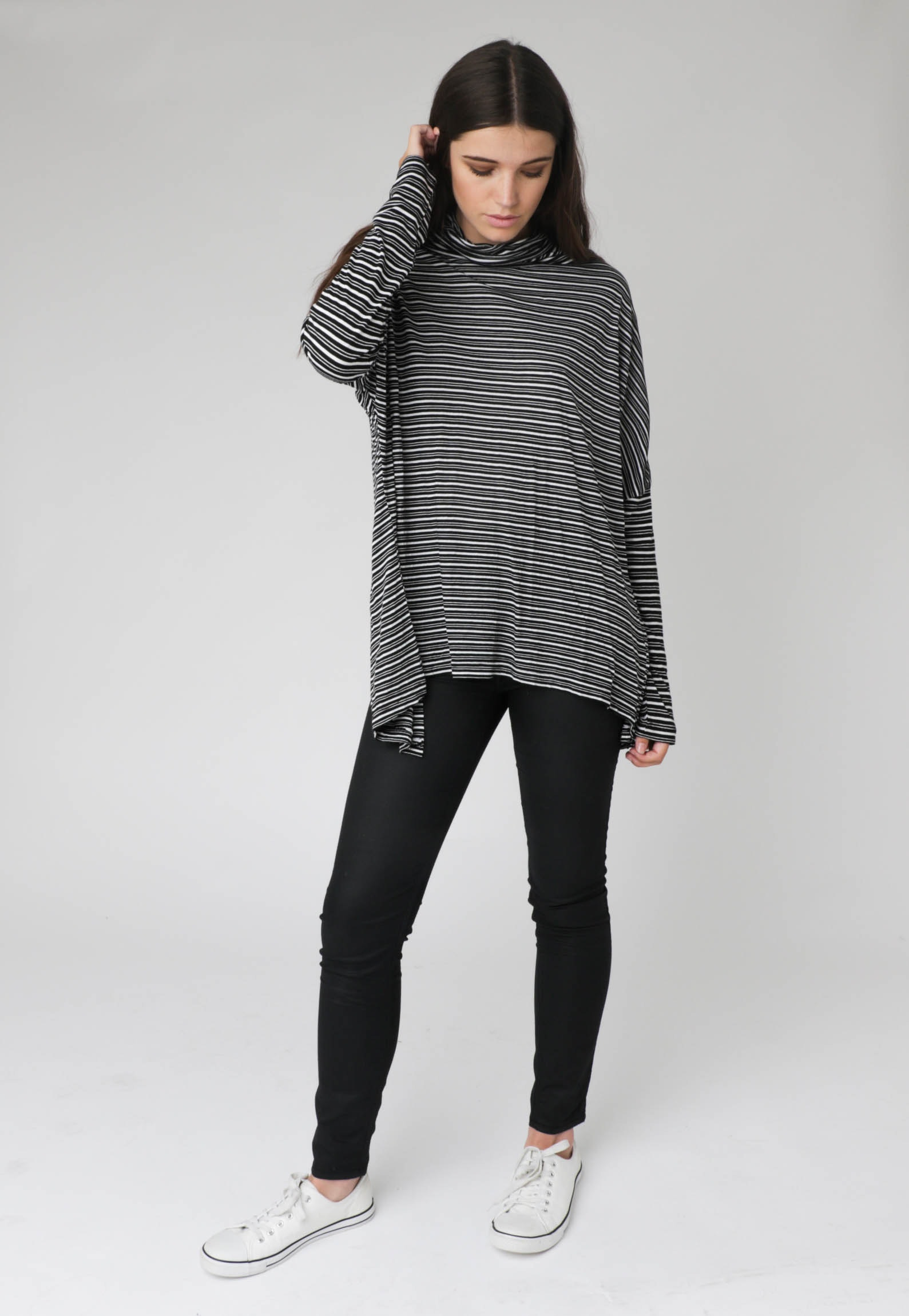Silent Theory - Runway Ay L/S Top - Black & White Stripe