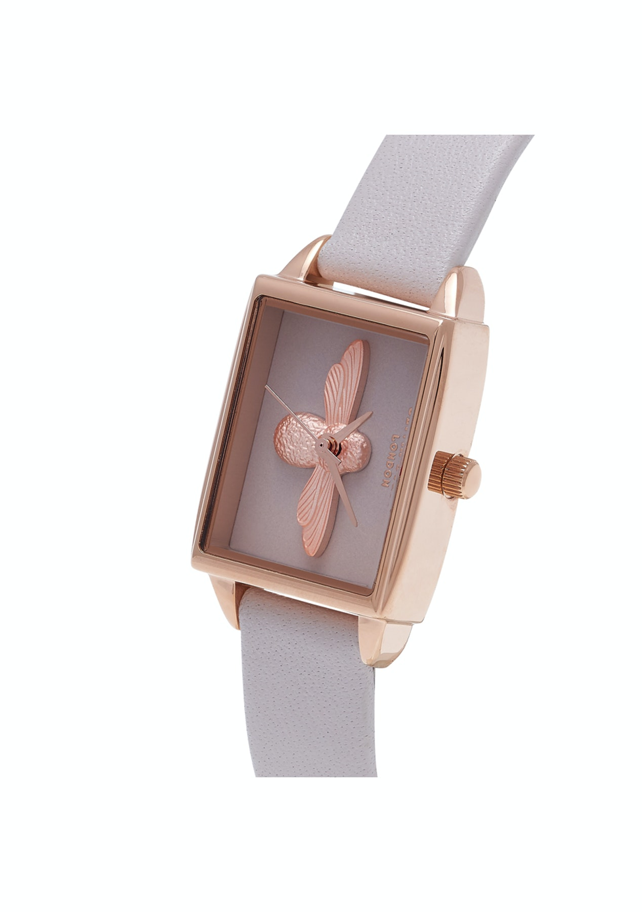 best value a6c7e fb9be Olivia Burton 3D Bee Collection Rose Gold Case Grey Strap