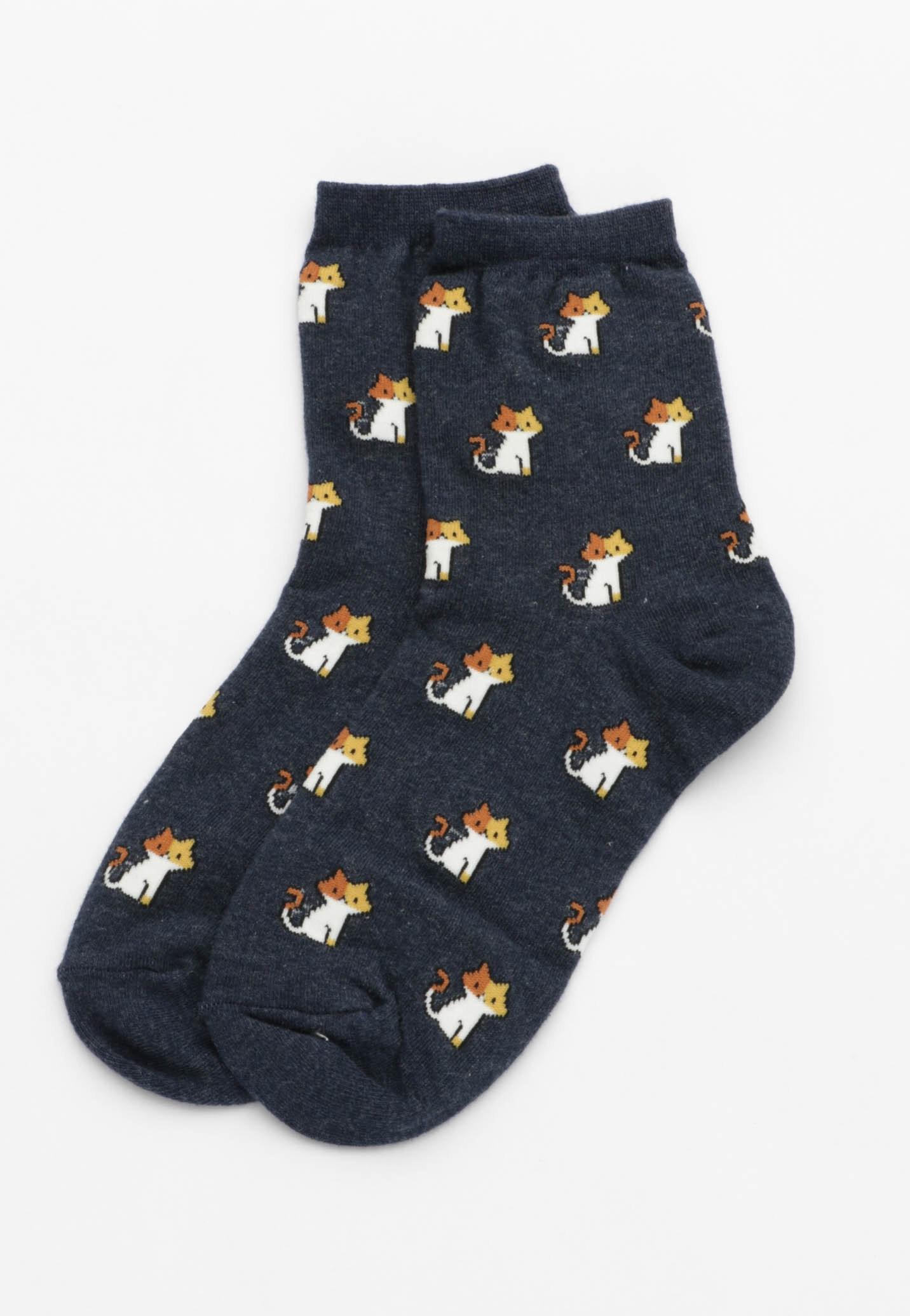 Cat Socks - Navy