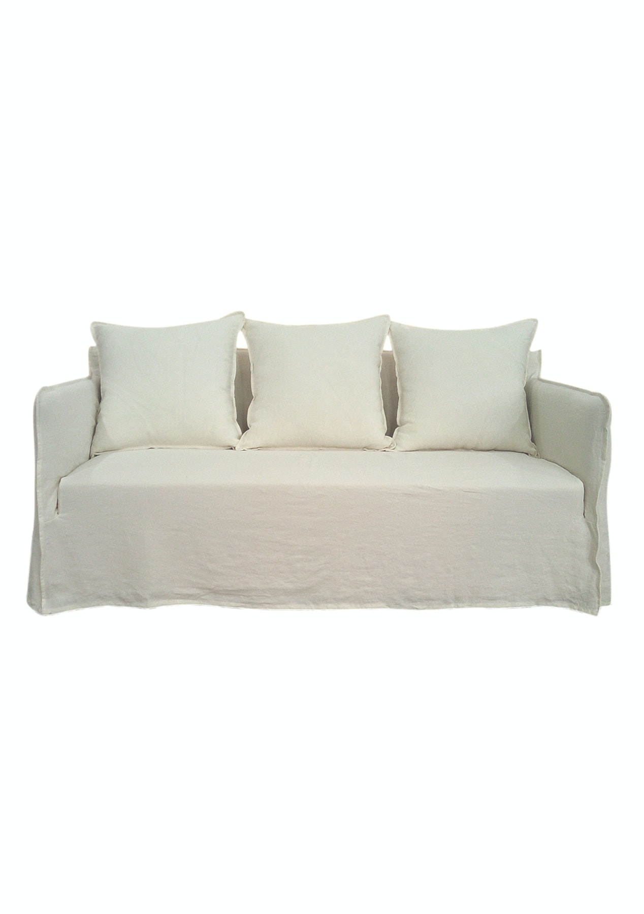 Marvelous 100 Luxe Linen Slip Cover 2 Seater Sofa Off White Gmtry Best Dining Table And Chair Ideas Images Gmtryco