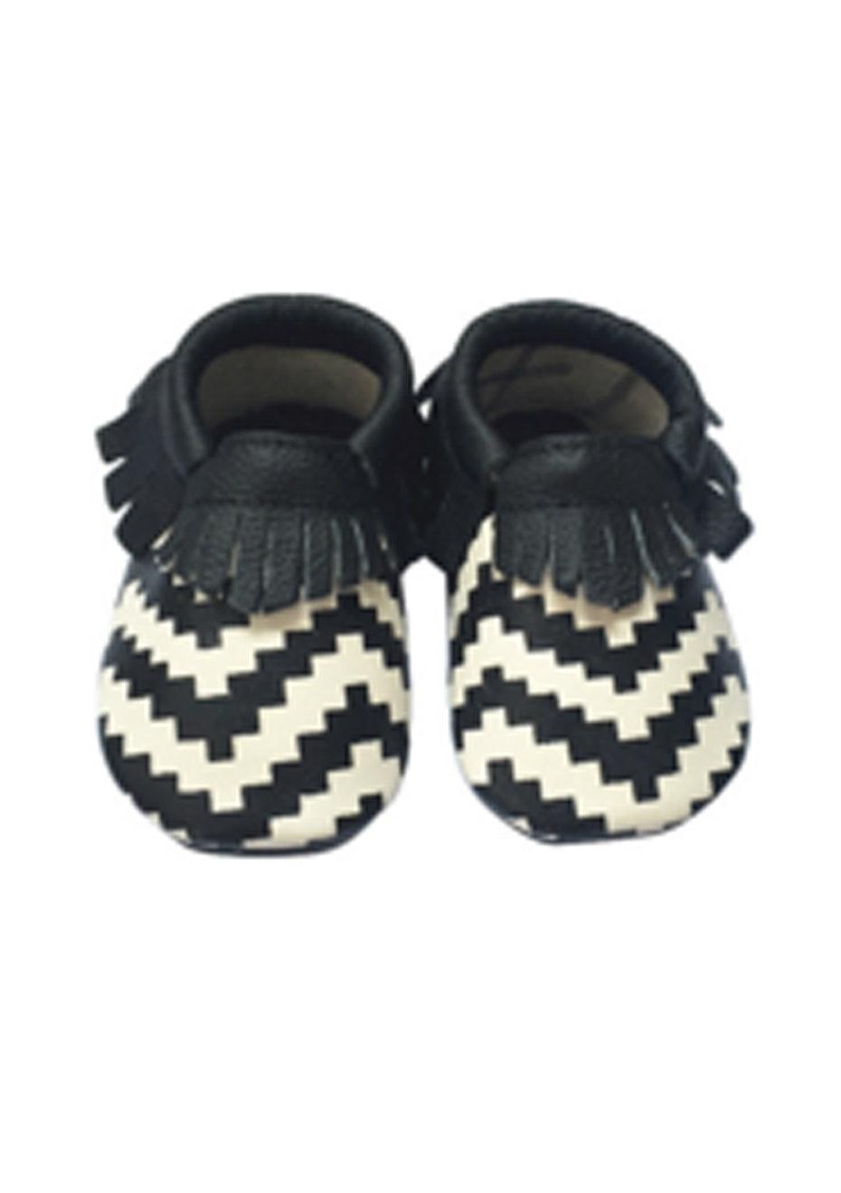 Baby  Leather Shoes - Black/Zig Zag