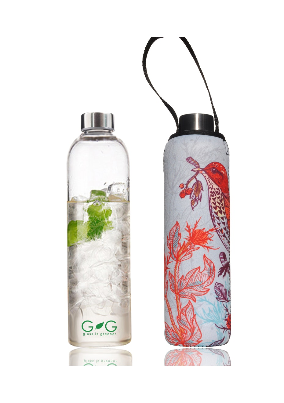 BBBYO - Glass Is Greener Bottle 750 ml + Carry Cover (Pretty Print) -750 ml