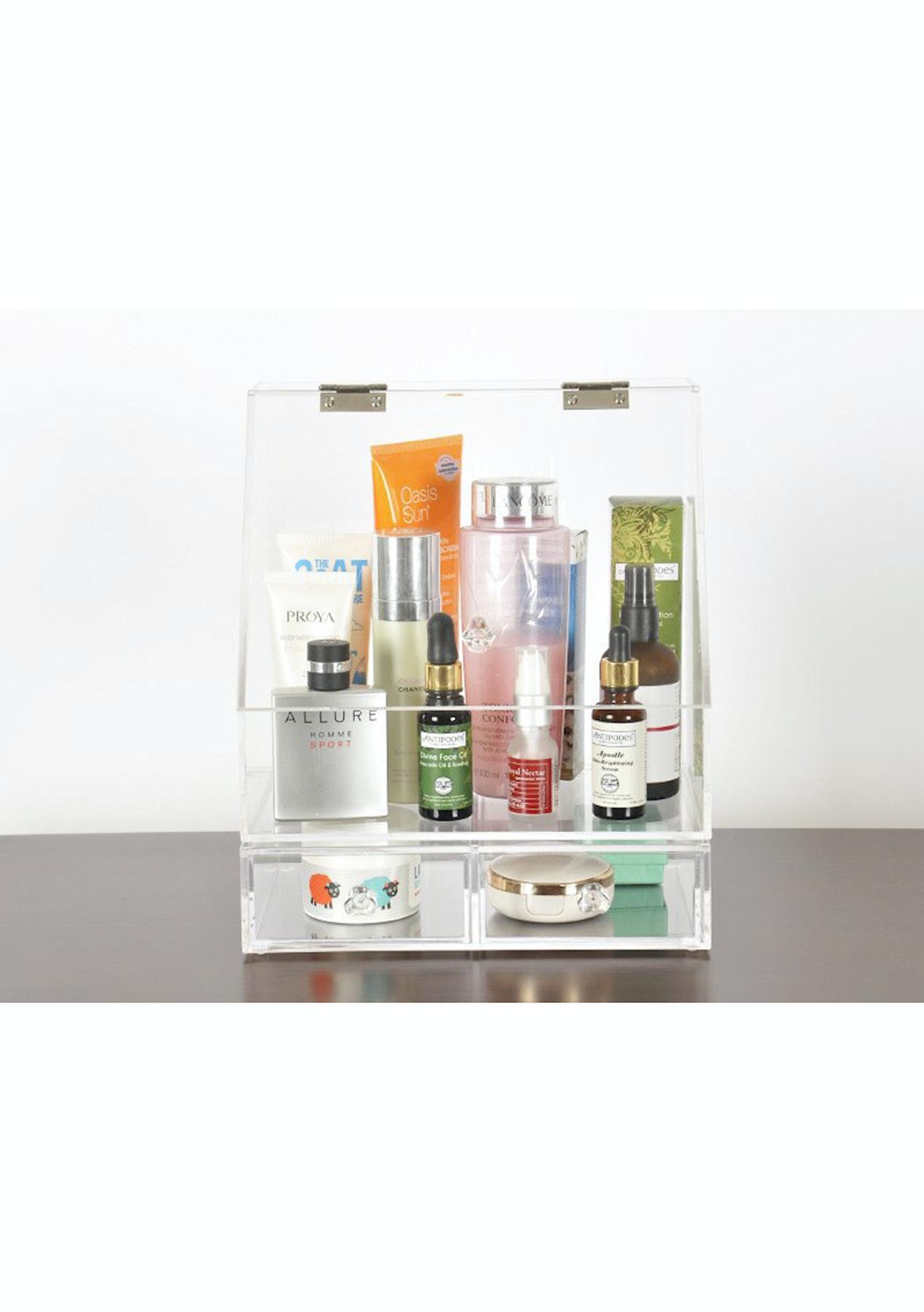 Clamshell Make Up Organiser Cosmetics Storage Box  Cosmetic & Beauty
