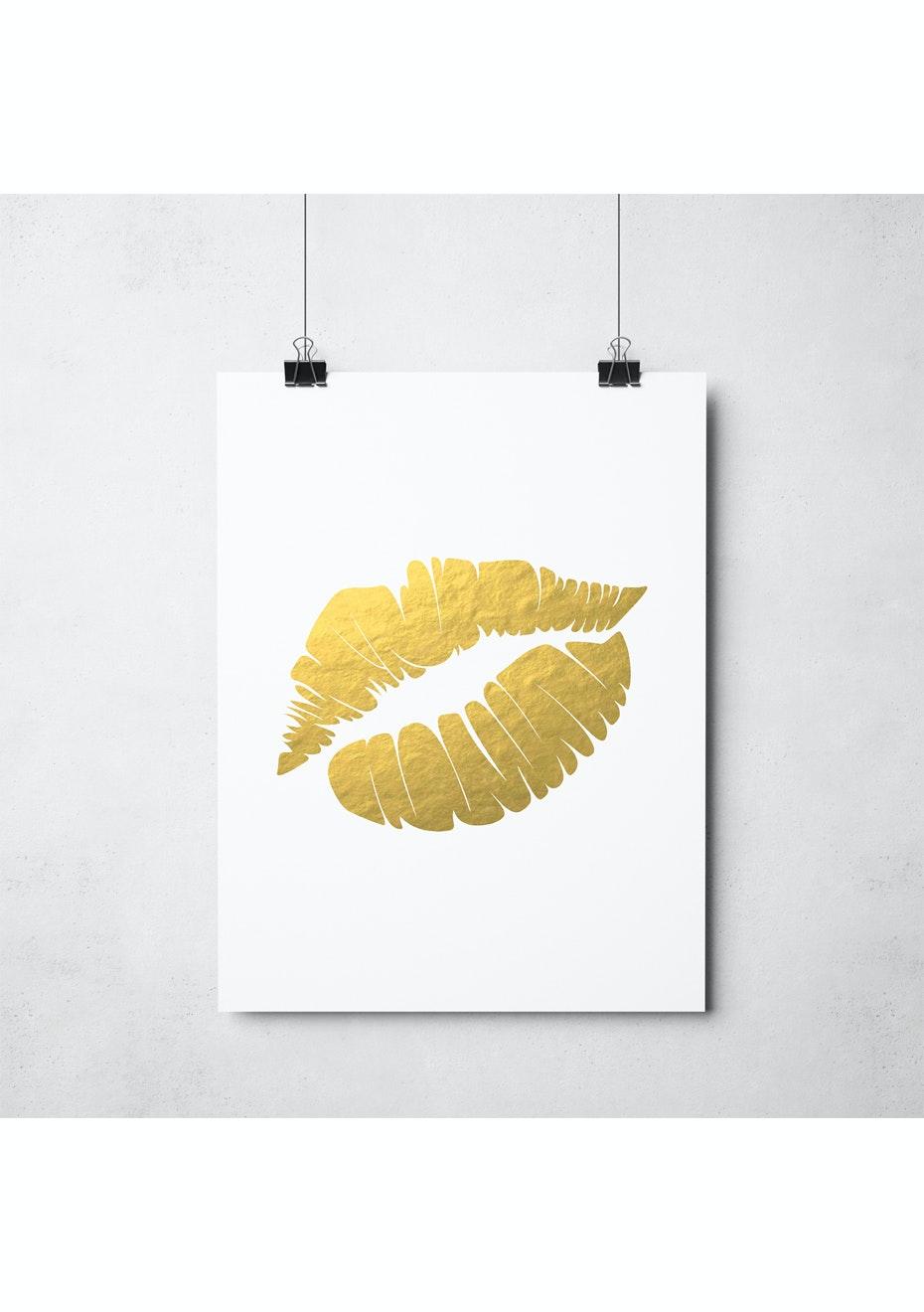 Simply Creative - Mwah - A3 Gold Foil Print
