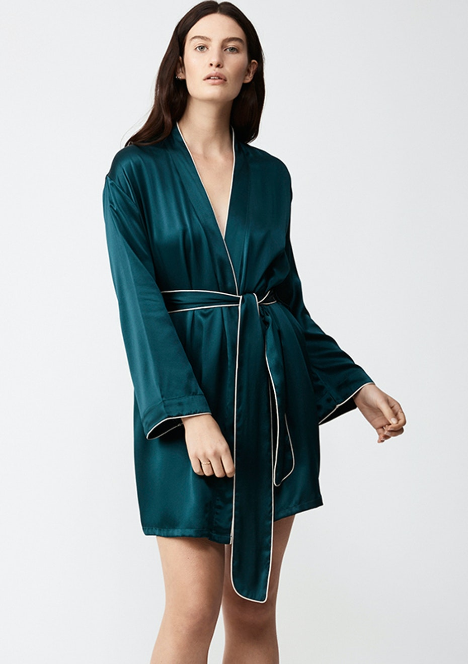 NATALIJA - Silk Robe - Emerald