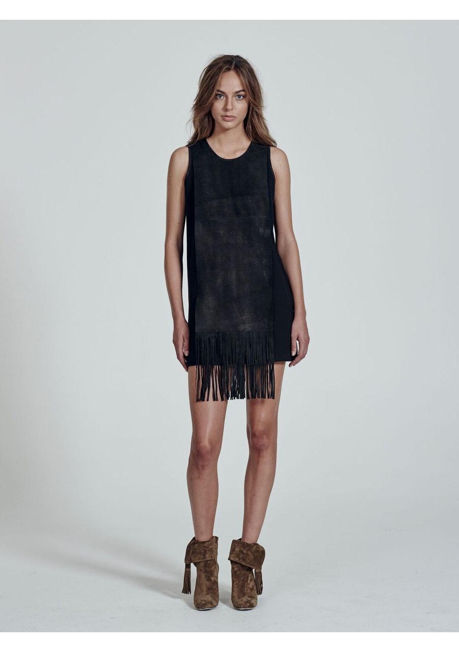 West 14th - Queens Finge Dress  - Matt Black Leather + Black Ponti