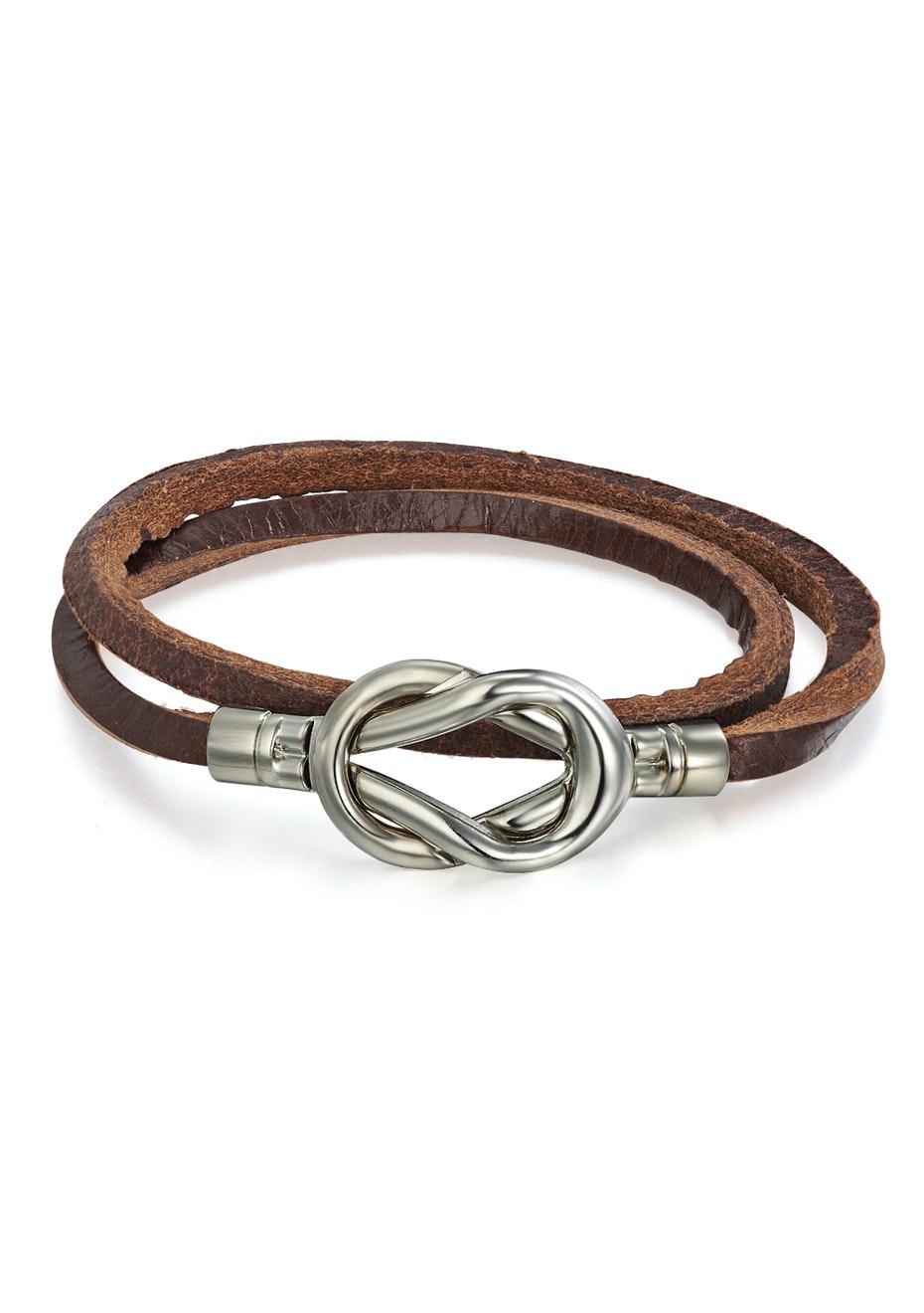 Genuine Cow Leather 2 row infinite wrap bracelet