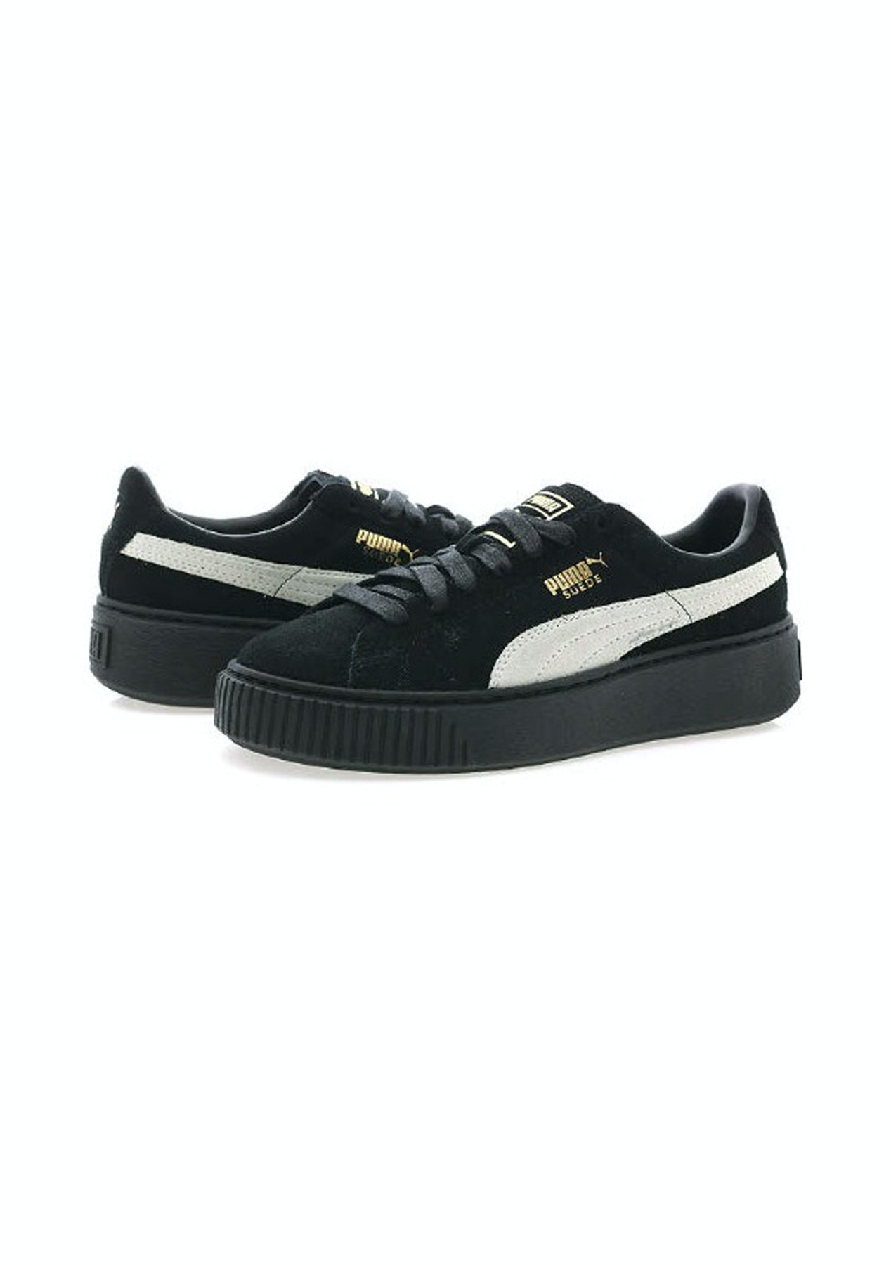 299a694c81d3 Puma Womens - Suede Platform Fl - Black White Gold - The Big Shoe Sale -  Onceit