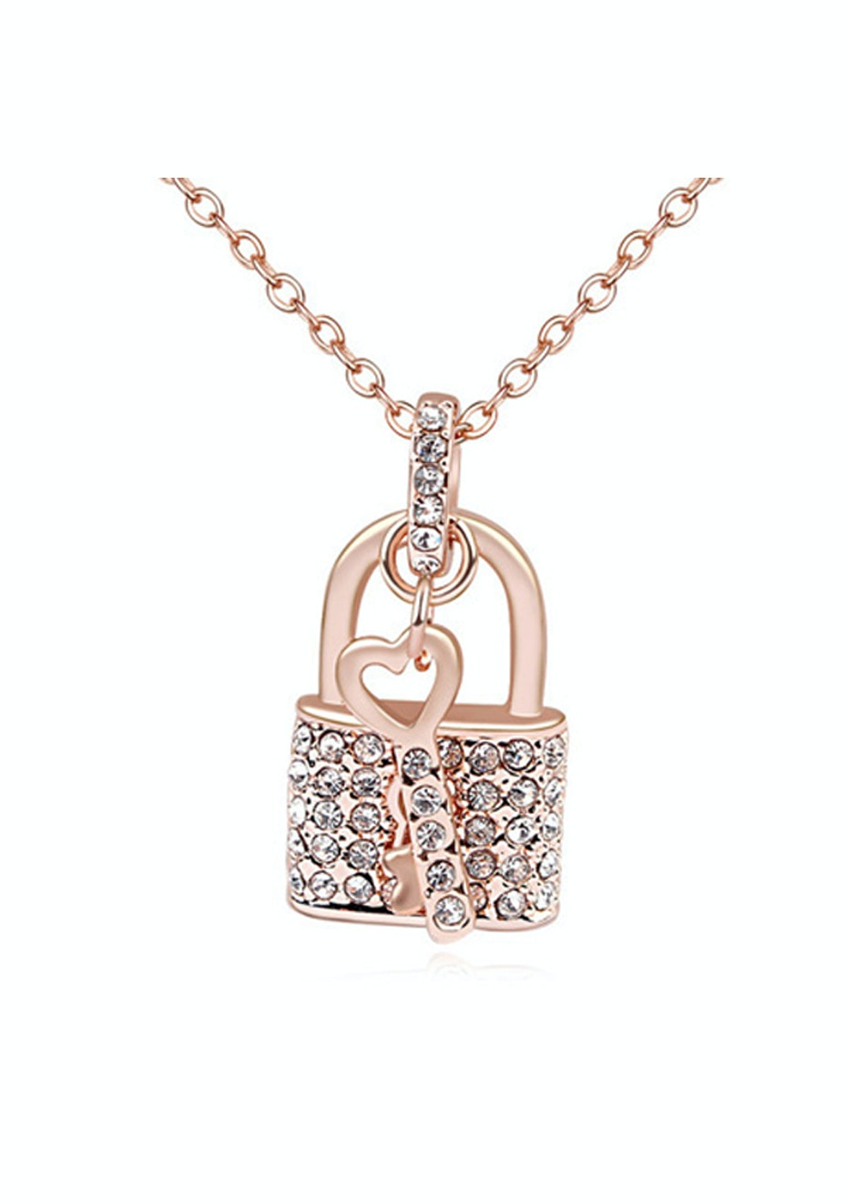 Love Lock Pendant Necklace Embellished with Crystals from Swarovski -RG