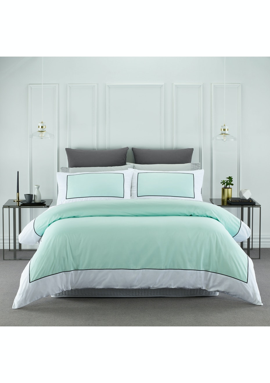 Style & Co 1000 Thread count Egyptian Cotton Hotel Collection Ascot Quilt Cover sets Queen Mist