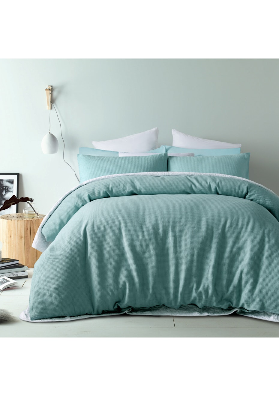 Ocean Breeze Waffle Linen Cotton Quilt Cover Set- Queen Bed