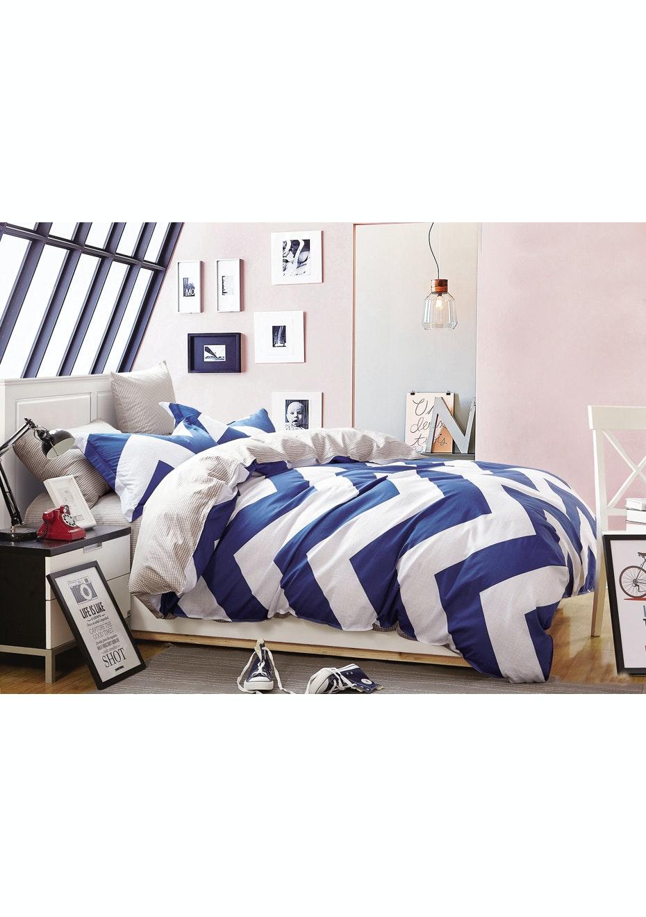 San Diego Quilt Cover Set - Reversible Design - 100% Cotton Single Bed
