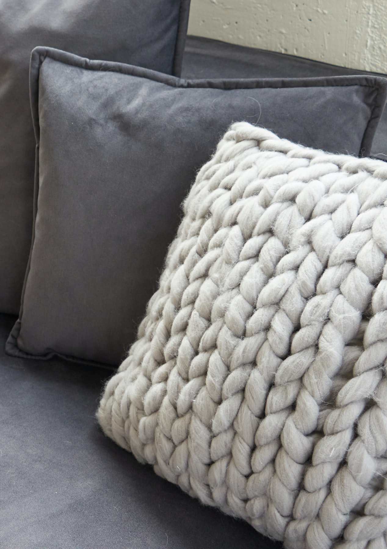 George St. Light Grey Super Chunky Knit Cushion Cover - Chunky Knit ...