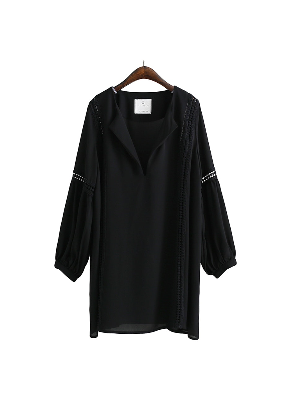 Ally Lace Trim  Tunic  - Black
