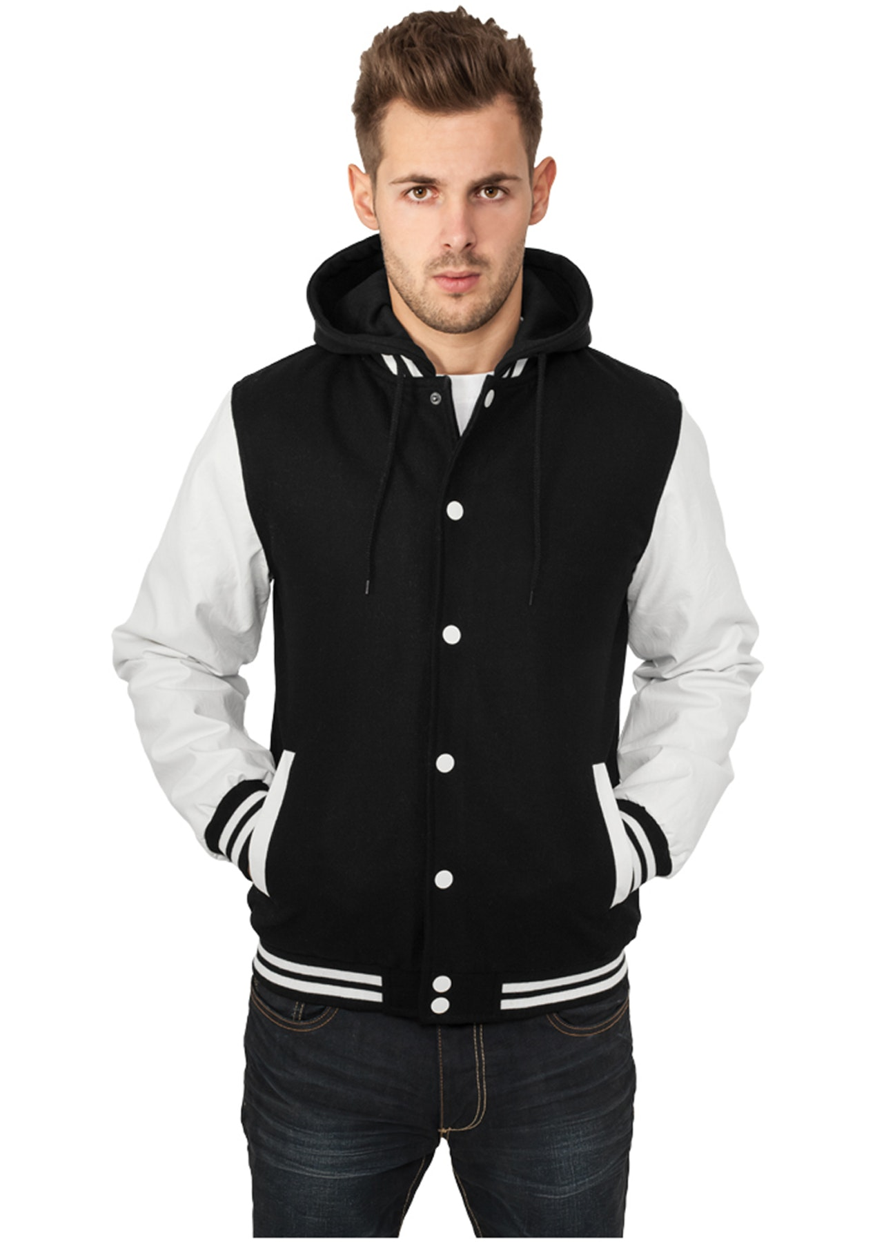 74c454c7 Urban Classics - Hooded Oldschool College Jacket - black/white ...