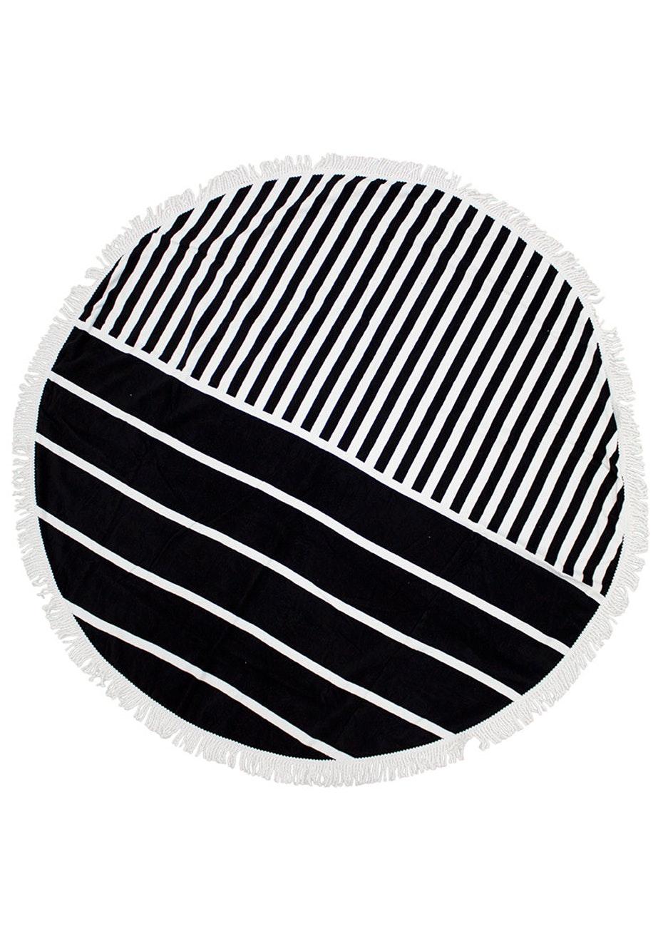 Round Beach Towel With Fringing - Black