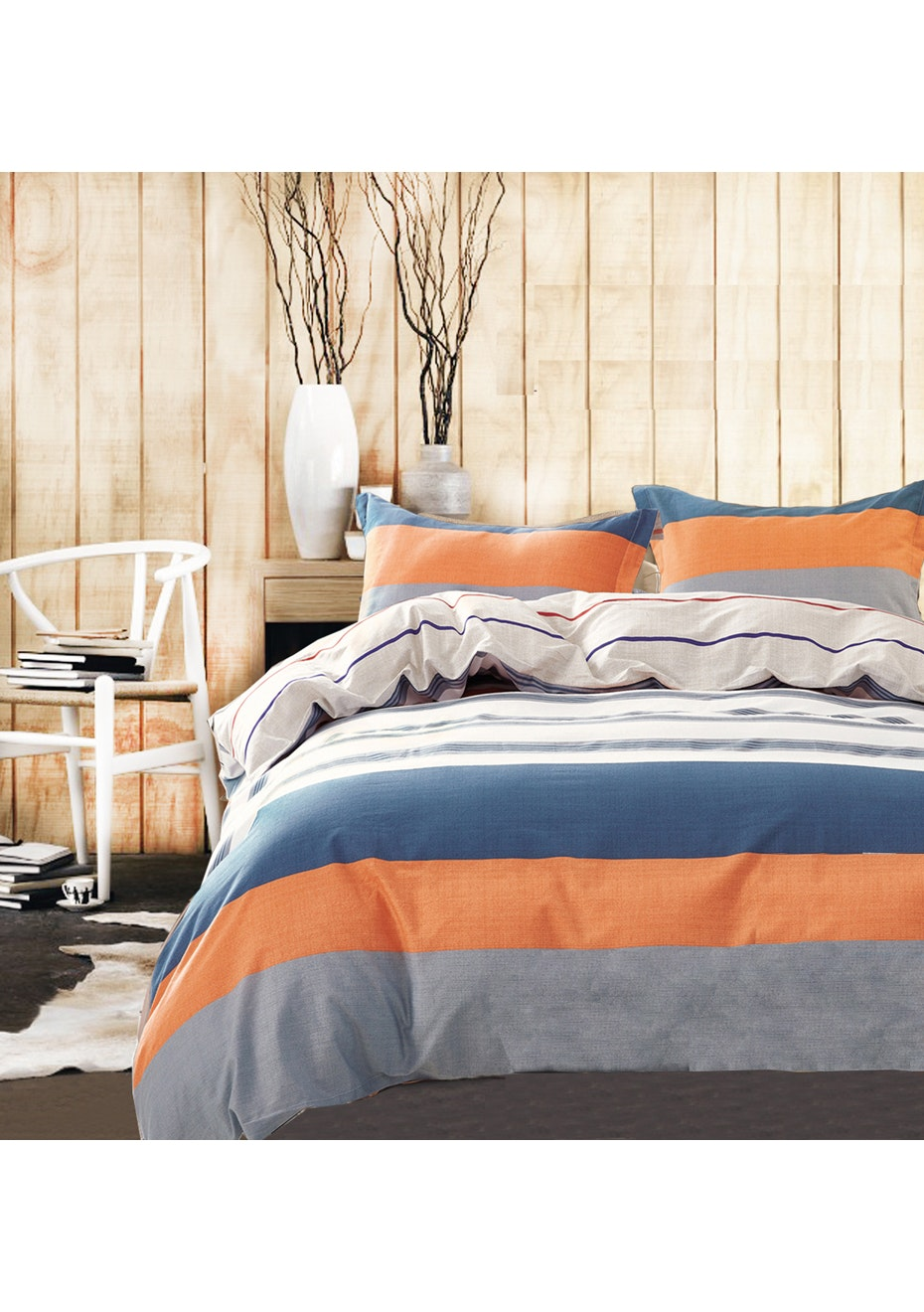 Nelson Bay Quilt Cover Set - Reversible Design - 100% Cotton - King Bed