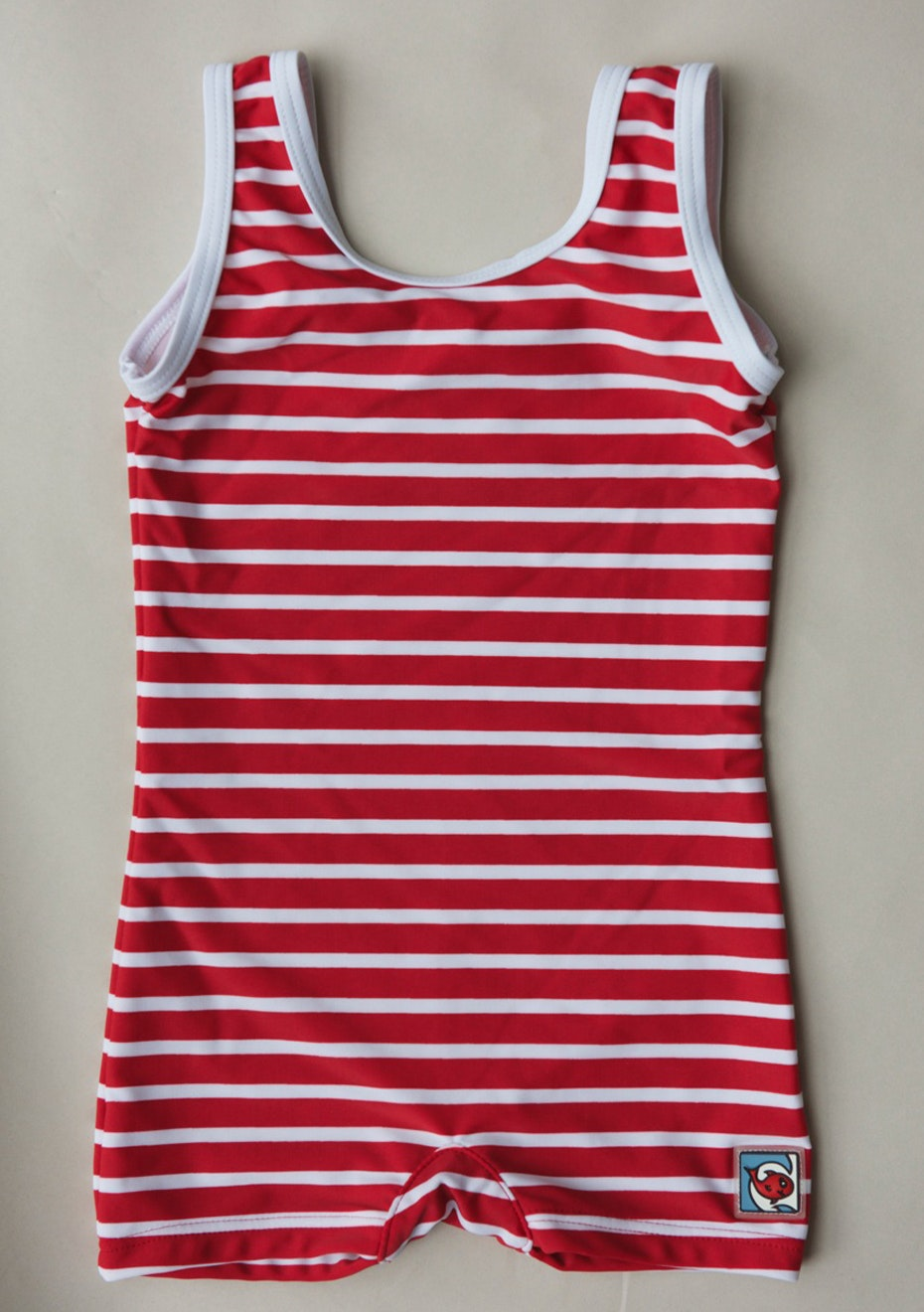 Little Red Fish - Classic Bather Swimsuit - Red & White Stripe