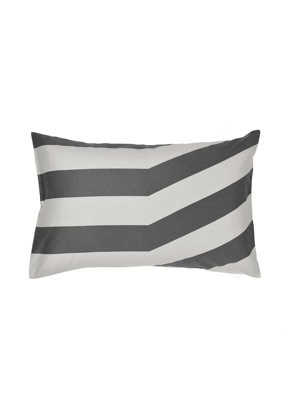 Aura Tltd Stripe Standard Pillowcase - Standard Charcoal