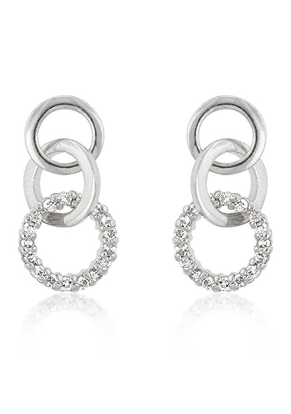 White gold bonded Triple Hoop Earrings