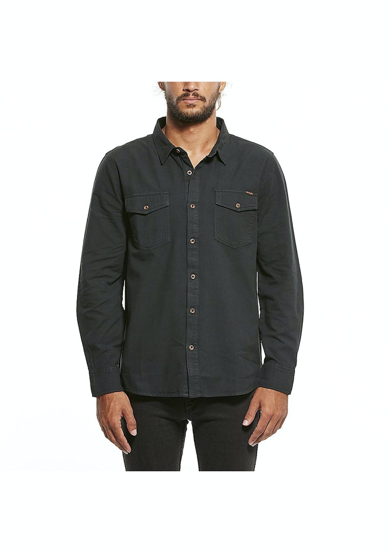 308a01c92b220 Wrangler - Platoon Ls Shirt - Vintage Black - Wrangler   Lee Mens - Onceit