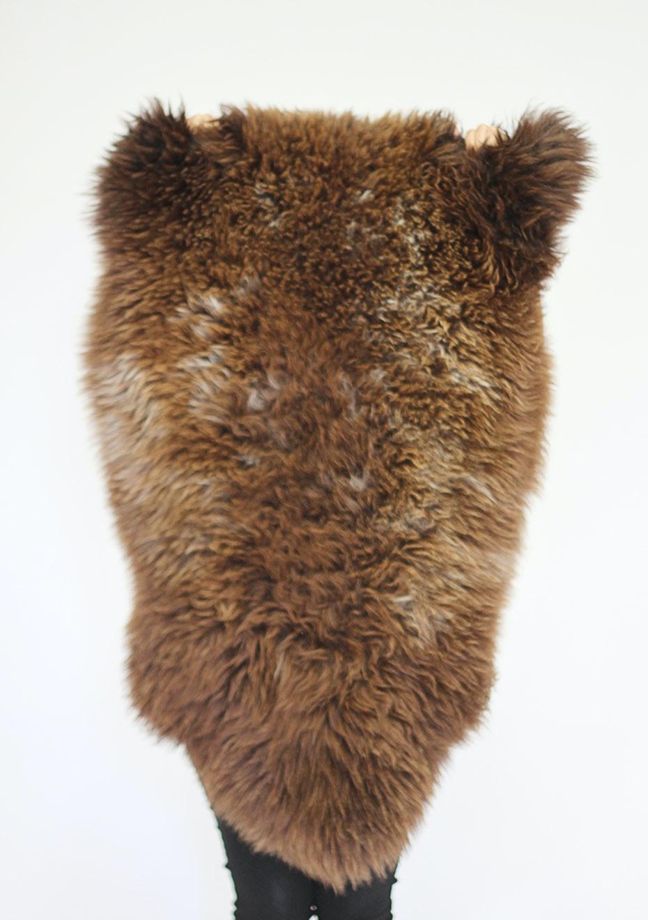 Bronze Natural Dark Shade Long Wool Sheepskin Rug