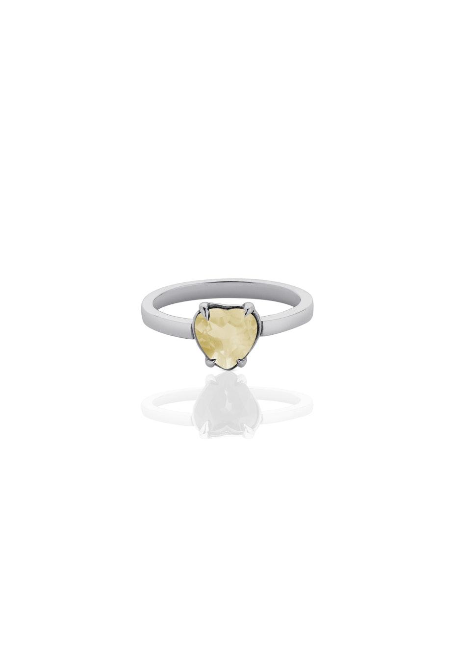 Meadowlark - Heart Jewel Ring - Citrine