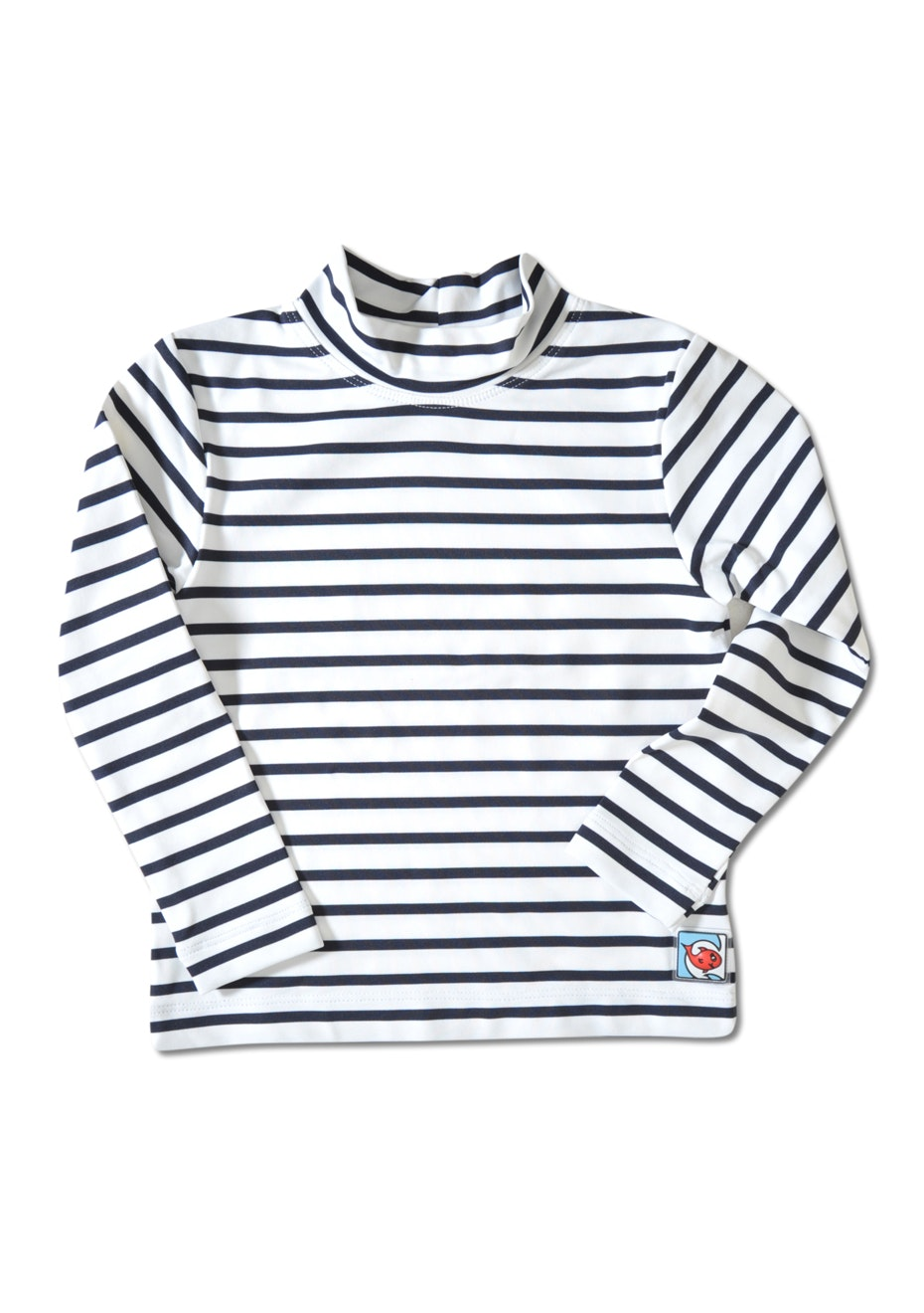 Little Red Fish - Long Sleeve Swimshirt - White & Navy Stripe