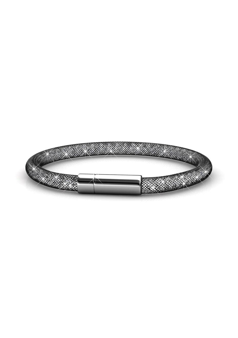 Mesh Single Wrap Bracelet Ft Swarovski Crystals -Black