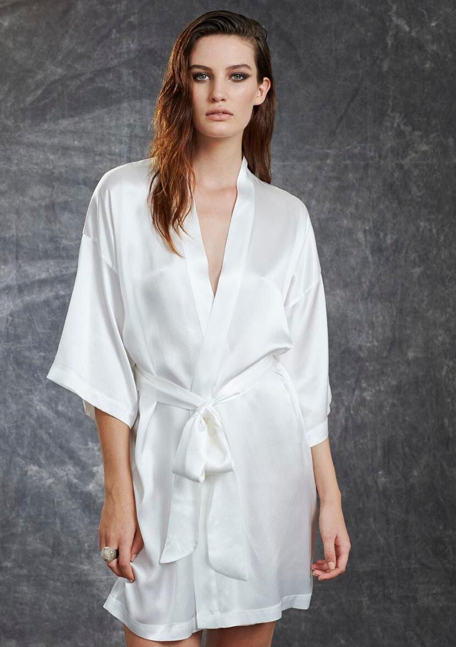 Willa & Mae - Grace Short Robe - White