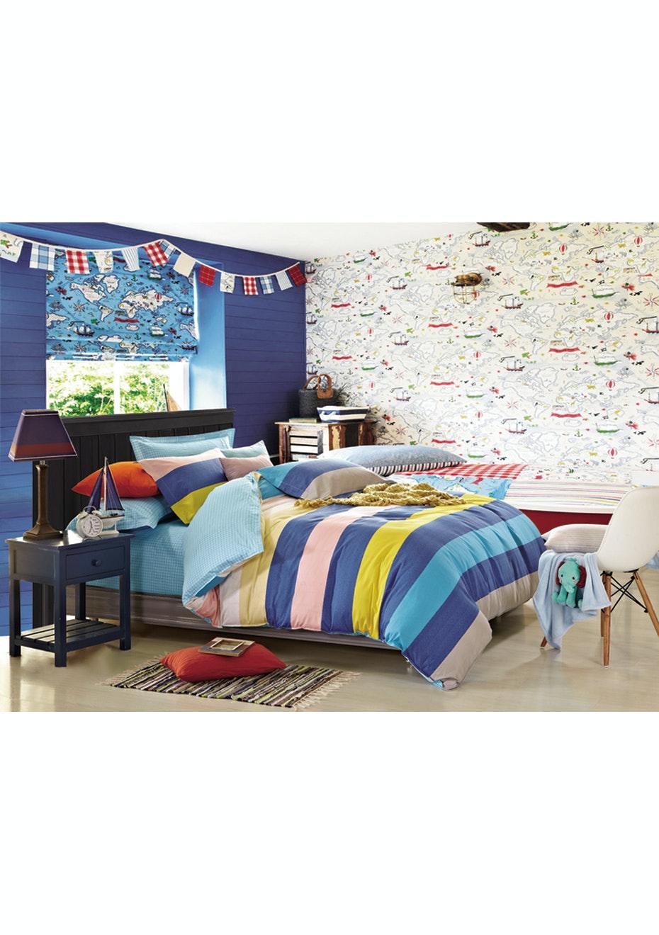 Carter Quilt Cover Set - Reversible Design - 100% Cotton - Double Bed
