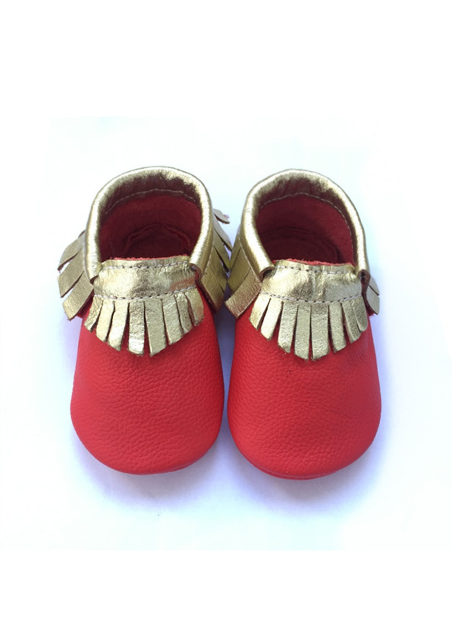 Baby  Leather Shoes - Xmas Red / Gold