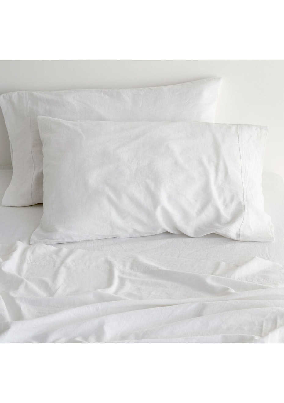 Canningvale - Sogno Linen Cotton Sheet Set Carrara White Queen Bed
