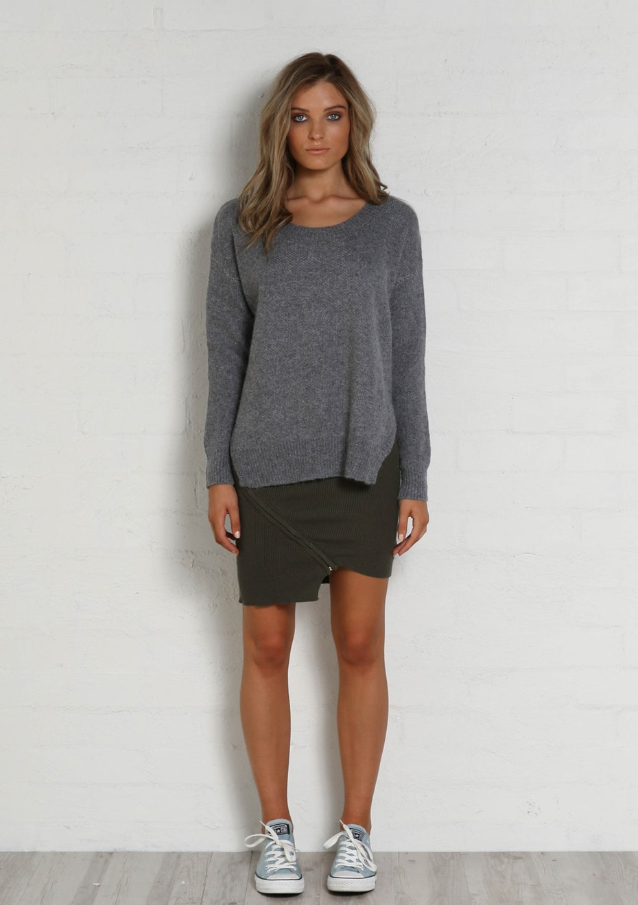 Madison - FRANKIE SCOOP KNIT - GREY