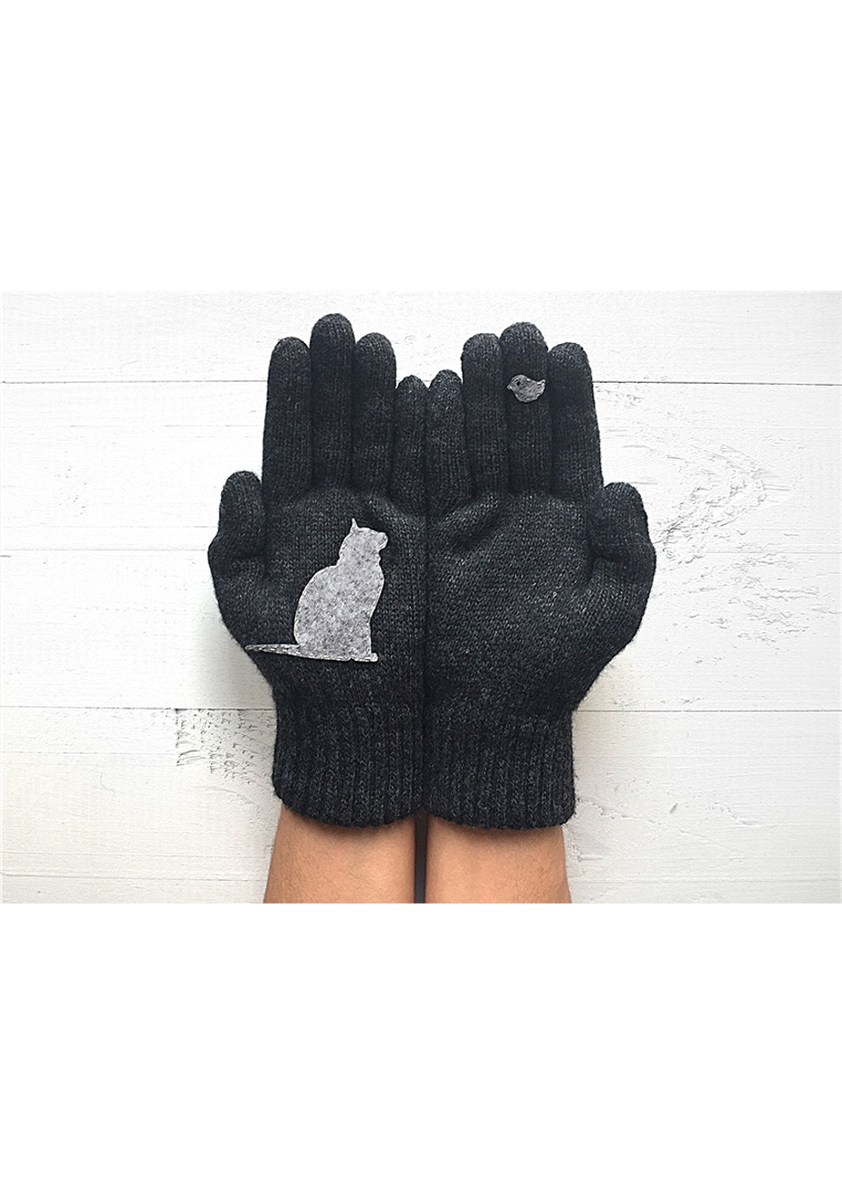 Cat & Bird Gloves - Charcoal